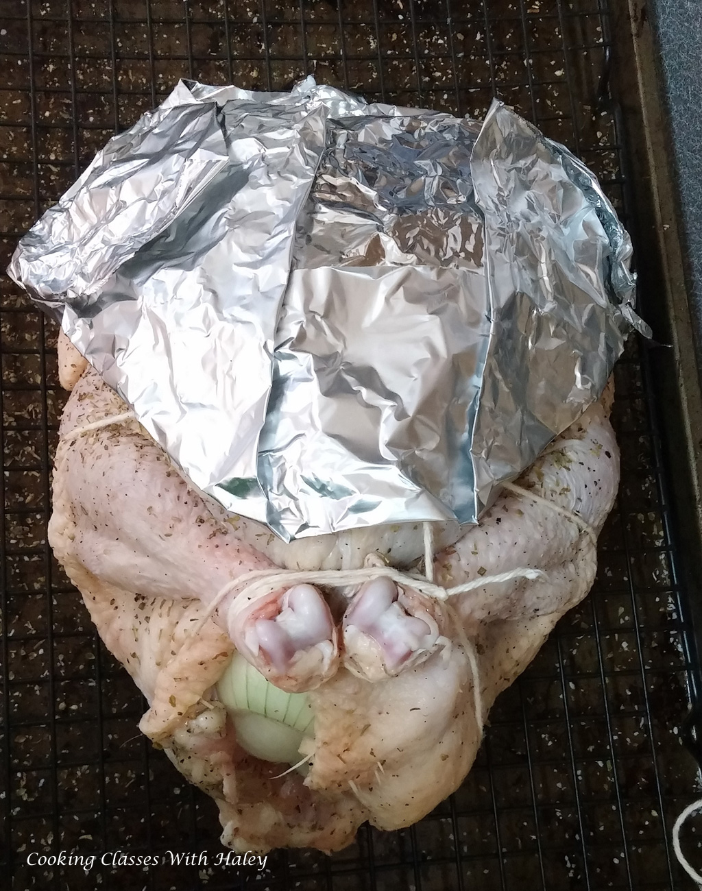 aluminum foil chicken breast shield.
