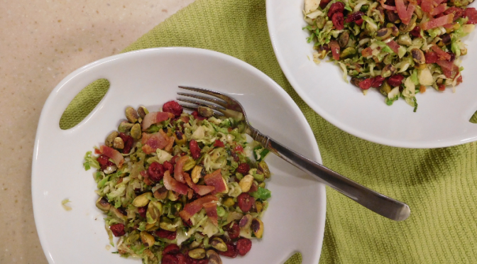 Warm Brussels Sprout Salad with Pistachios and Cranberries