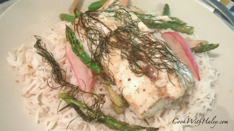 Halibut, Radish, and Asparagus En Papillote