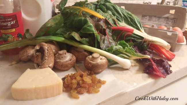Chard and Mushroom Fritata - mise en place